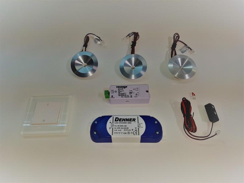 LED Set 3 x 2.5W 3000K | Wand Dimmer | Möbeleinbau  – Bild 1