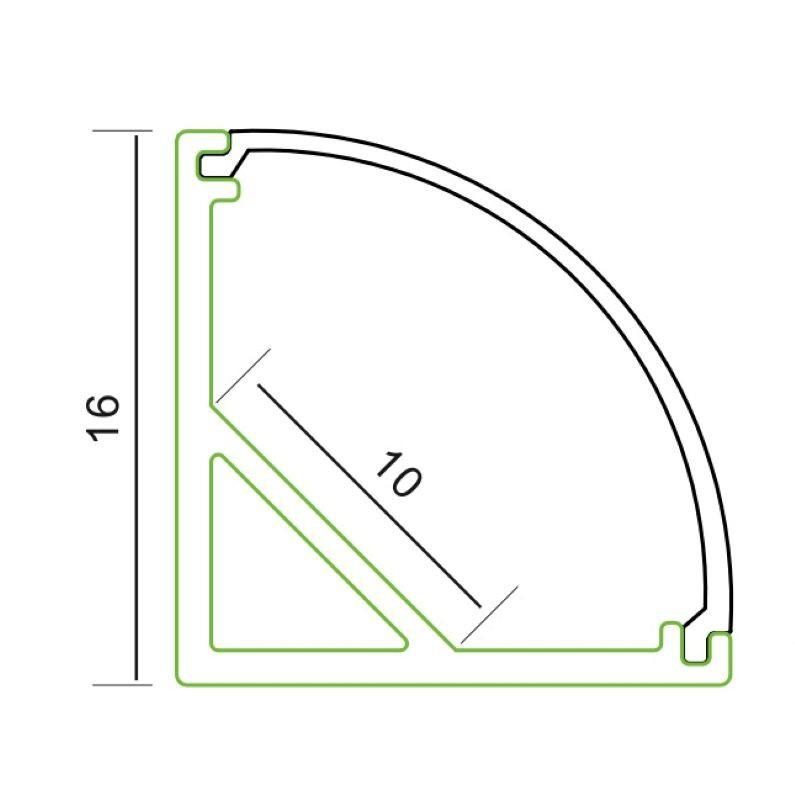 2m L-Profil | 16 x 16 mm | 45 ° | milchig – Bild 2
