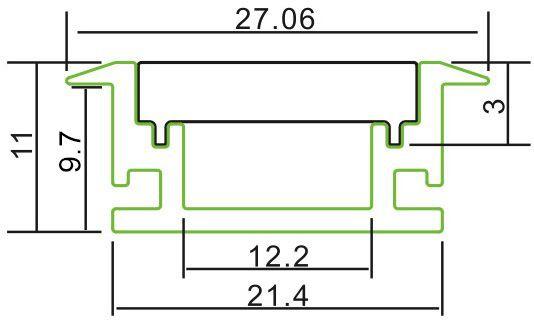 2m T-Profil | 27 x 11 mm | Bodeneinbau | milchig – Bild 2