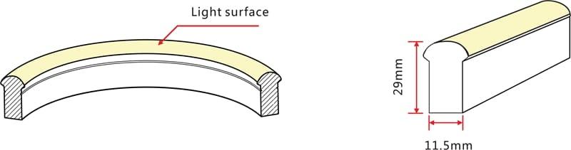 LED Neon Flex Pro | 24 VDC | 6,5 W/m | Rot | 120lm/m | 20m Rolle | dimmbar – Bild 2