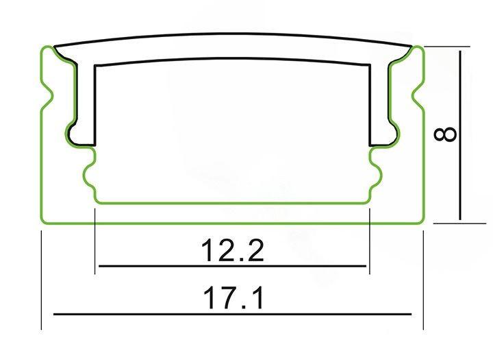2m U-Profil | Alu | 17x8mm | weiß matte Abdeckung – Bild 2