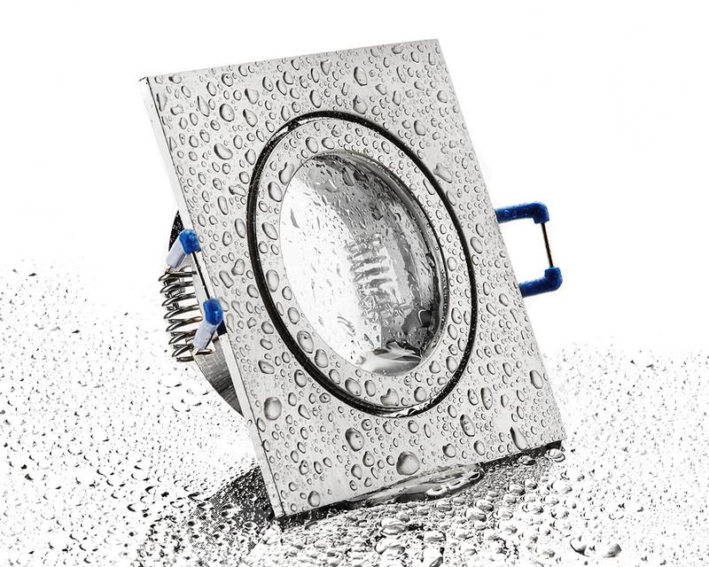 eckiger Alu Einbaurahmen eisengebürstet mit Klickverschluss für Bad/Aussen