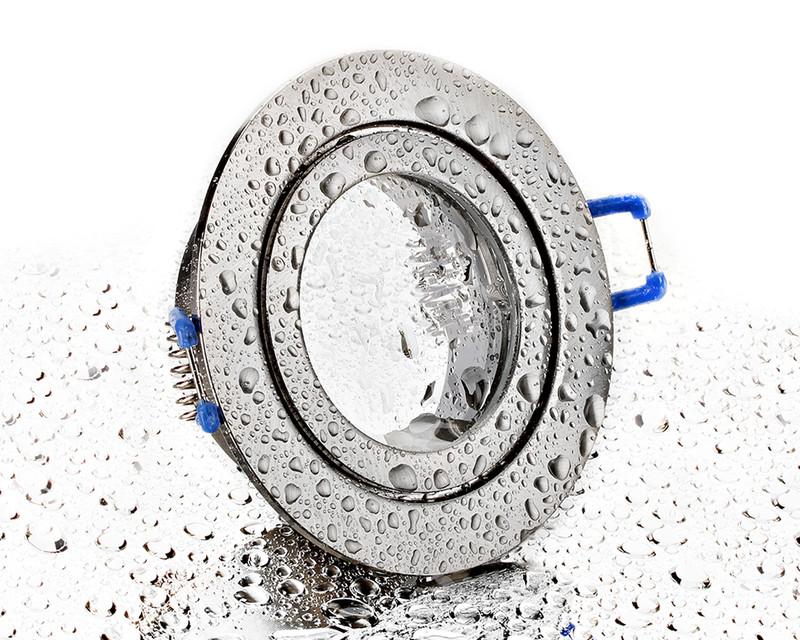runder Alu Einbaurahmen eisengebürstet mit Klickverschluss für Bad/Aussen
