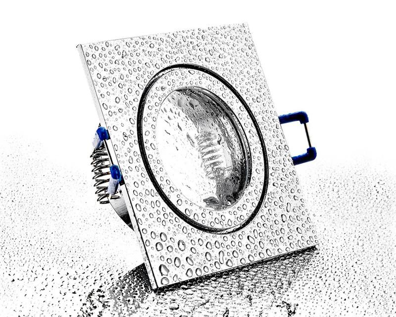 eckiger Alu Einbaurahmen chrom mit Klickverschluss für Bad/Aussen – Bild 1
