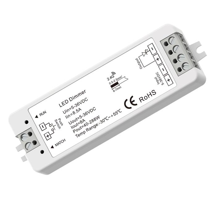 Multi-Serie 12-24V. Dimmer Empfänger, 1 Kanal 8A, Push-Dim, ohne Fernbed.