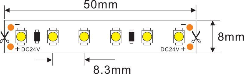 IP44 LED Streifen 5m | 3000K  | 24V 48W | 600 LEDs | dimmbar – Bild 3