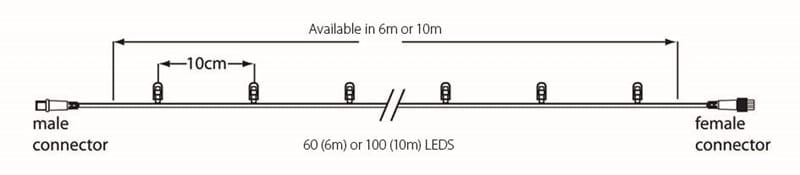 10m Lichterkette 100LEDs 6500K, Kabel schwarz – Bild 2