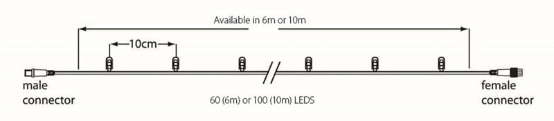 10m Lichterkette 100LEDs 2400K, Kabel schwarz – Bild 3