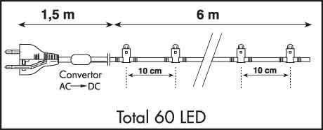 LED Cord Light 6 m, 60 blaue LEDs, Kabel schwarz – Bild 3