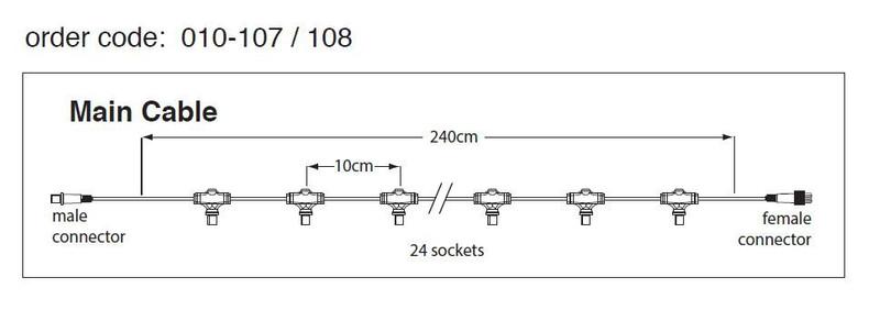 2,4m LED Lichterkette Hauptkabel weiß, 24 Fassg, IP44 – Bild 1