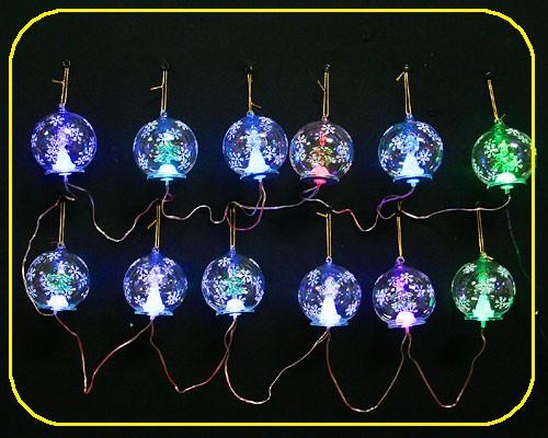 Girlande 12x Glaskugeln 8cm RGB mit Trafo – Bild 1