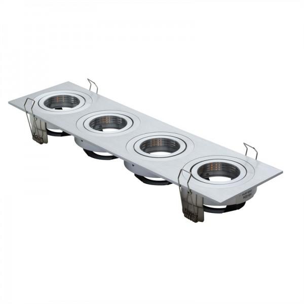 Einbaurahmen HighEnd 4-fach | Rechteckig 346 x 90 mm| Alu gebürstet  | voll verstellbar