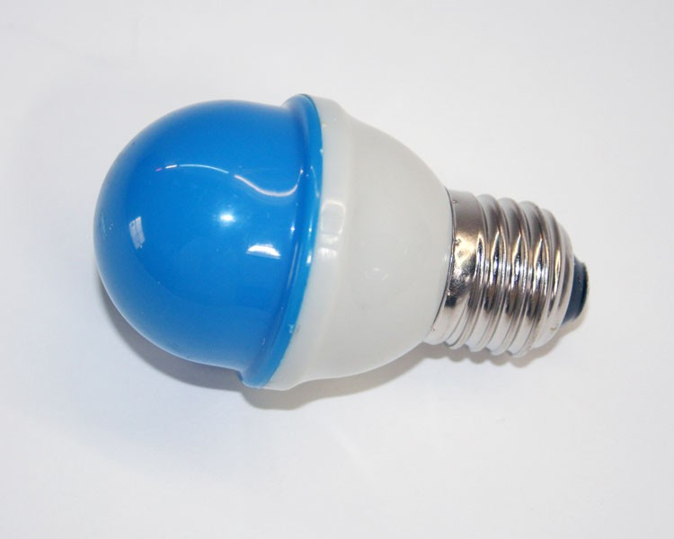 1W.LED Birne Ø48mm 10LED, E27, 230V. milchig blau – Bild 1