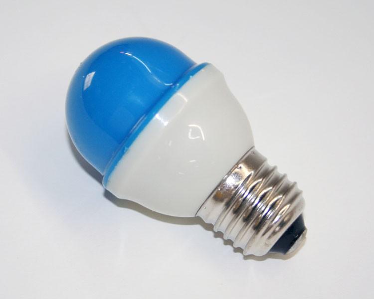 1W.LED Birne Ø48mm 10LED, E27, 230V. milchig blau – Bild 2