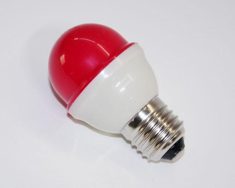 1W.LED Birne Ø48mm 10LED, E27, 230V. milchig rot – Bild 2