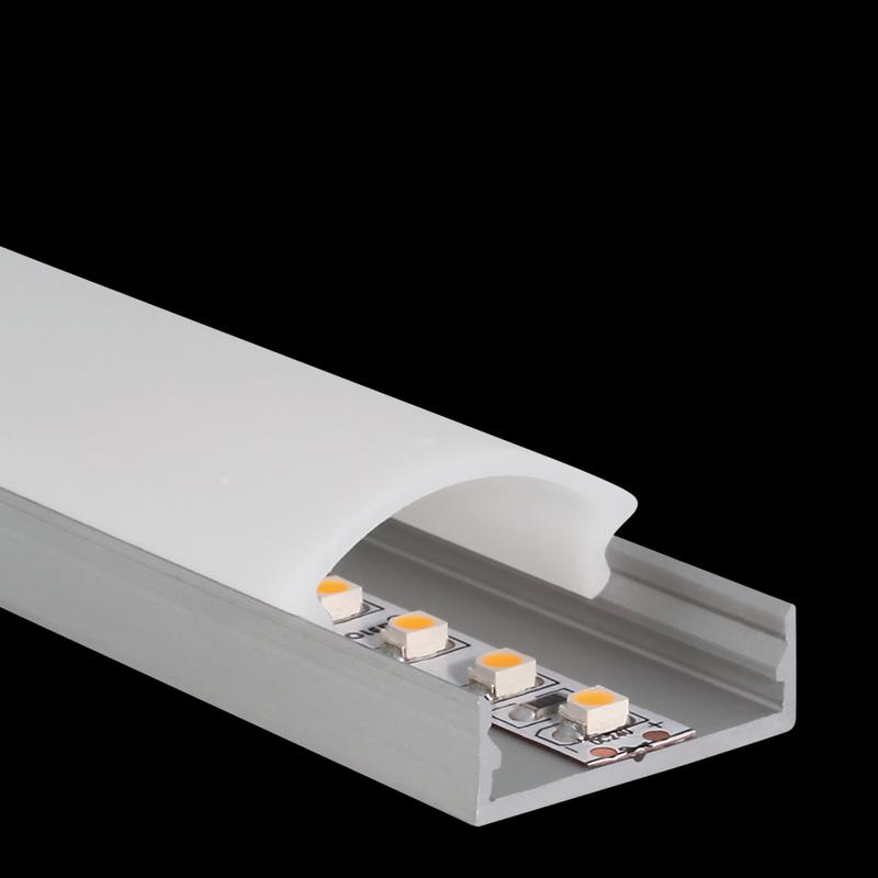 1 m Alu U-Profil extra flach 24 x 8 mm ohne Abdeckung – Bild 3