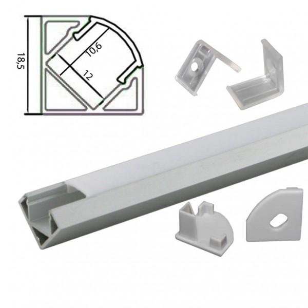 2m Alu | Eck L-Profil 45° | 19x19mm | weiß matte Abdeckung – Bild 2