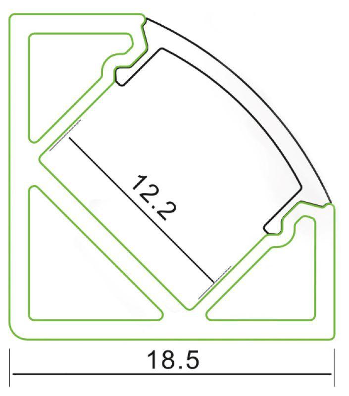 2m Alu | Eck L-Profil 45° | 19x19mm | milchiger Abdeckung – Bild 2