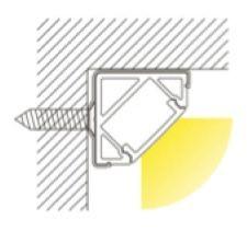 1m Alu | Eck L-Profil 45° | 19x19mm | milchiger Abdeckung – Bild 3