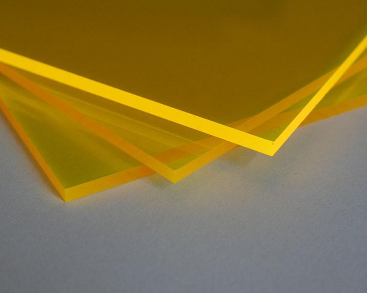 Lucy PMMA Platte 3mm | 335x250 mm | fluo gelb – Bild 1