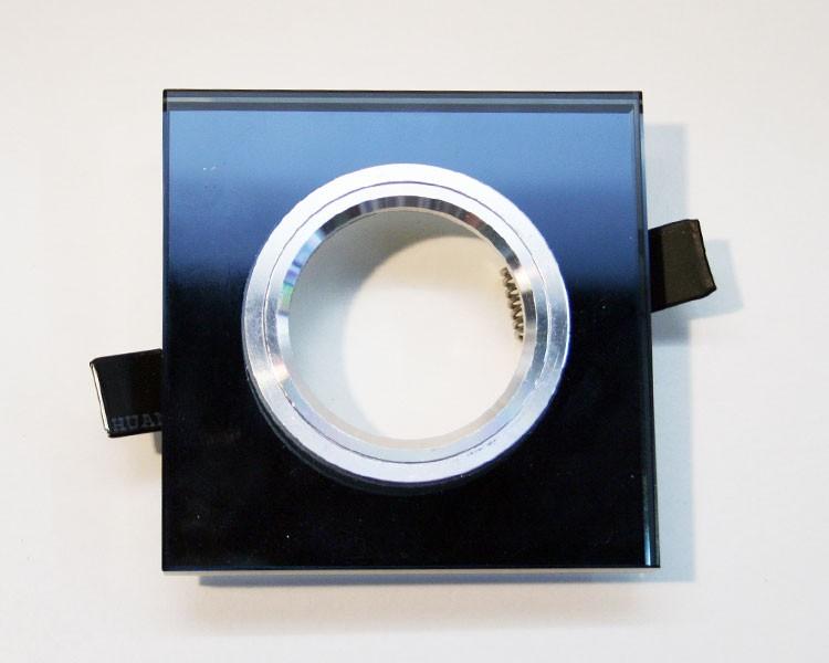 1er eckiger Einbaurahmen mit 10 mm Glas schwarz  – Bild 1
