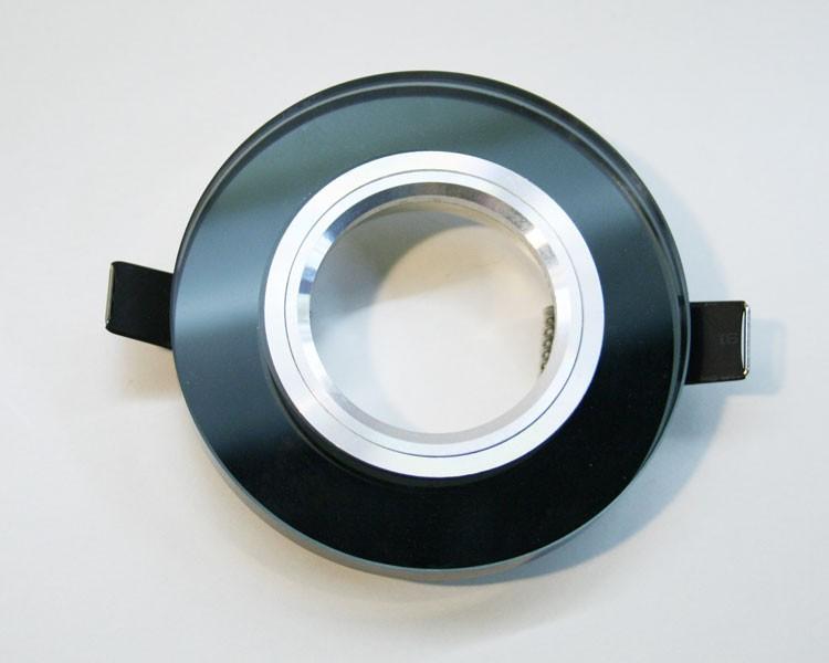 1er runder Einbaurahmen mit 10 mm Glas schwarz  – Bild 1