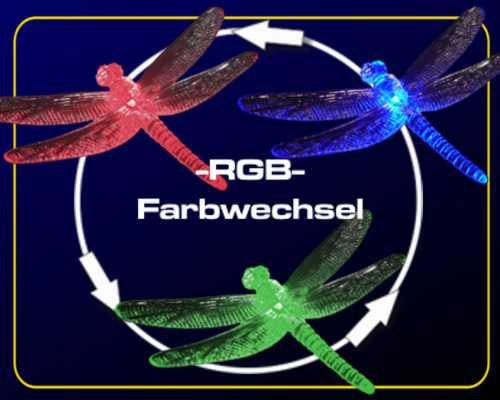 Solar LED Gartenstab Libelle RGB – Bild 3