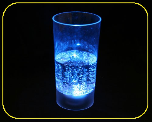 LED Saftglas blau mit Feuchtigkeitsschalter 200 ml – Bild 1