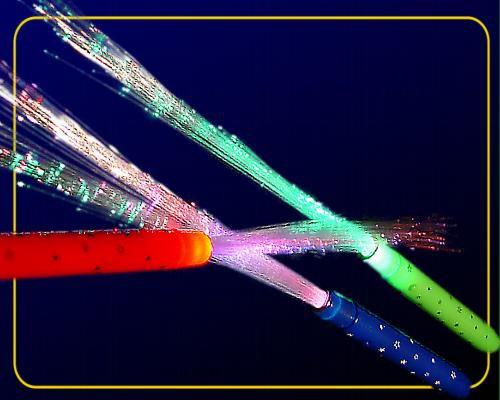 LED Glasfaserlampe Rainbow,8 Funkt. Griff farbl. sortiert in blau,grün,rot – Bild 1