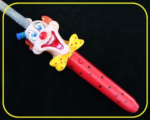 LED Glasfaserlampe Clown Regenbogen Griff Rot  – Bild 1