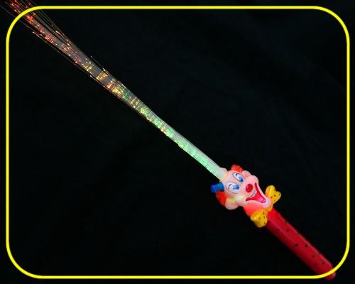 LED Glasfaserlampe Clown Regenbogen Griff Rot  – Bild 3