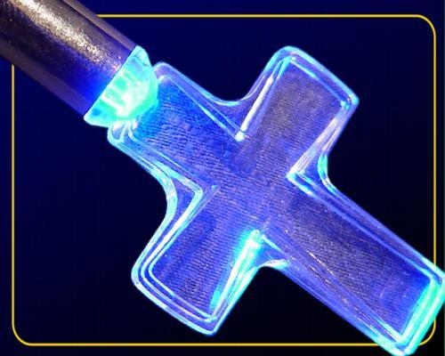 LED Acryl Kreuz blau mit Metall-Halskette +Batt. – Bild 1