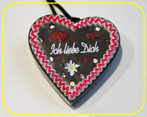"LED Lebkuchenherz ""Ich liebe Dich"" 9 LEDs inkl. Batt. – Bild 2"