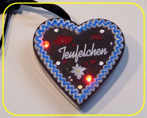 "LED Lebkuchenherz ""Teufelchen"" 9 LEDs inkl. Batt. – Bild 1"