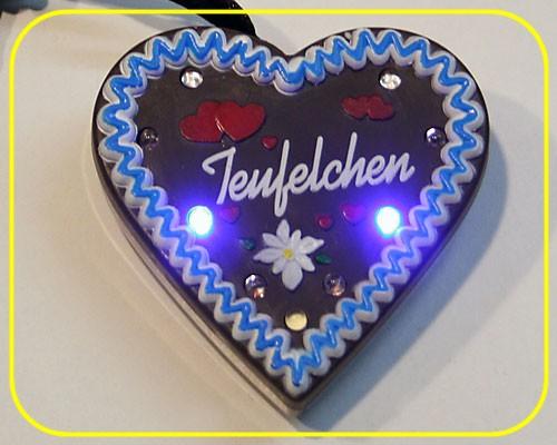 "LED Lebkuchenherz ""Teufelchen"" 9 LEDs inkl. Batt. – Bild 2"