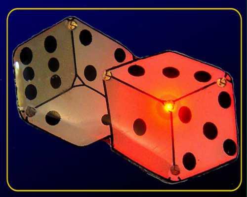 Magnetblinkie Spielwürfel, 6 LEDs in rot