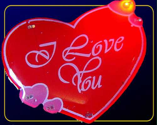 "Blinkie ""I Love You"",6 LEDs blau/rot mit Anstecker"
