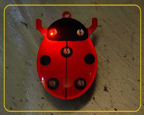 Blinkie Maikäfer, 5 LEDs blau/rot mit Anstecker