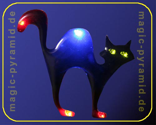 Blinkie Black Cat, 6 LEDs mit Anstecker – Bild 4