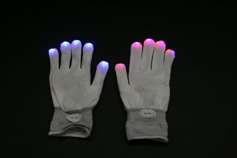 LED Handschuhe in weiß,on/off, 6 Blinkfunktionen – Bild 1