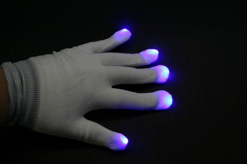 LED Handschuhe in weiß,on/off, 6 Blinkfunktionen – Bild 2