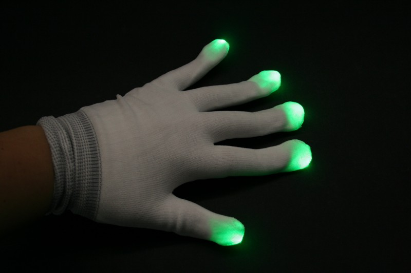 LED Handschuhe in weiß,on/off, 6 Blinkfunktionen – Bild 3