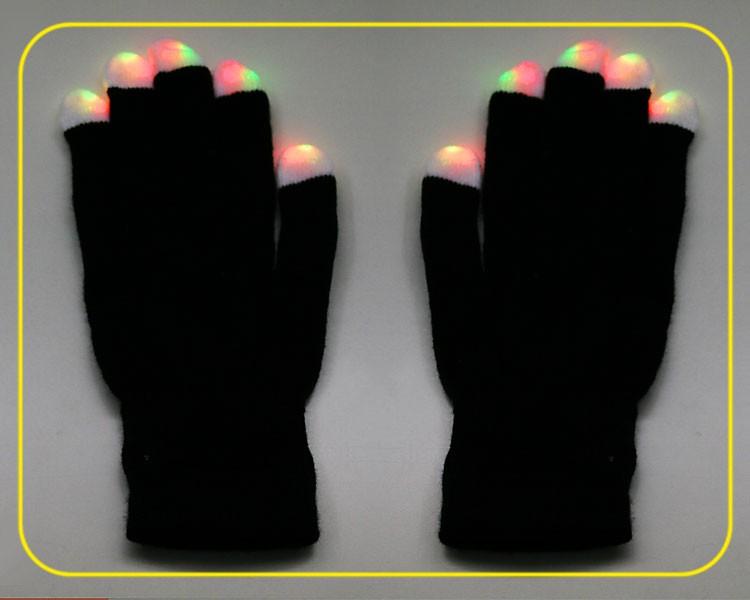 LED Handschuhe in schwarz, on/off, 6 Blinkfunkt. – Bild 2