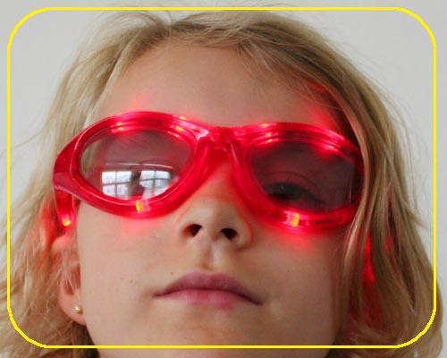 LED Sonnenbrillen rot 3 Funktionen inkl. Batt – Bild 3