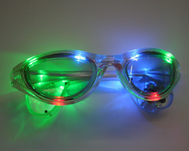 LED Sonnenbrille klar blinkend multicolor – Bild 2