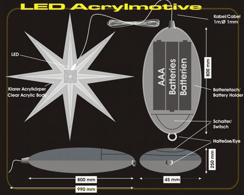 LED Acryl Stern 10cm warmweiß ohne Batterien – Bild 3