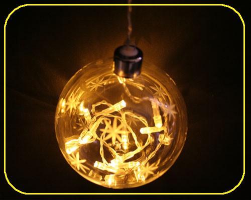 Glaskugeln mit 10x Lichterkette warmweiß  – Bild 1