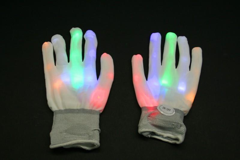 weiße Glasfaser Handschuhe Rainbow inkl. Batterien – Bild 1