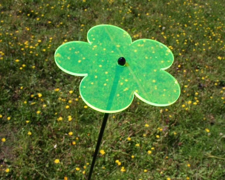 Fluo Blume klein, grün 12 cm ohne Stab Ø5mm – Bild 1