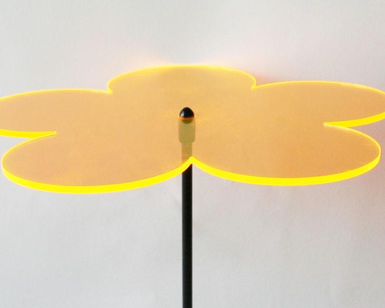 Fluo Blume midi, 6 cm auf 25 cm Stab Ø2mm gold-gelb – Bild 2